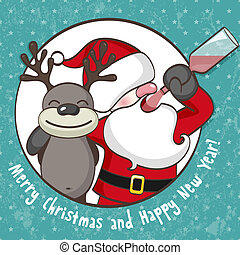 Drunk Santa Claus - Santa Claus with reindeer. EPS 10 vector...