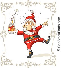 Vector of a celebrating Santa Claus dancing and holding a champagne bottle