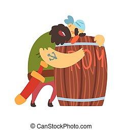 Drunk Scruffy Pirate Huging Wooden Barrel Of Rum, Filibuster...