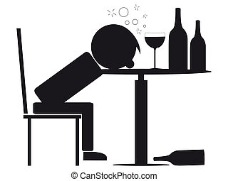 silhouette illustration of a person drunk