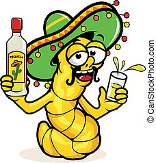 A cartoon drunk tequila worm holding a bottle of tequila. Vector Illustration