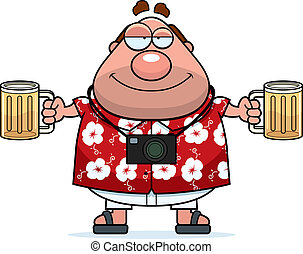 A happy cartoon tourist drunk with a couple beers.