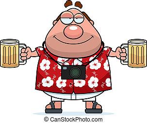 Drunk Tourist - A happy cartoon tourist drunk with a couple...