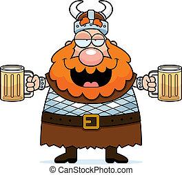 Drunk Viking - A happy cartoon viking drunk on beer.