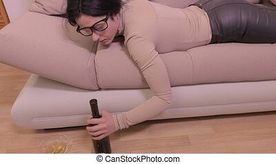 Drunk woman sleep on the couch