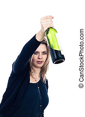 Drunk woman with bottle of alcohol