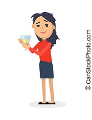 Drunk Woman with Glass of Wine Flat Vector