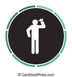 drunkard Simple flat white vector pictogram on black circle. Illustration icon