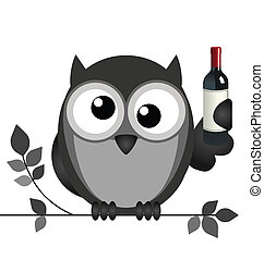 Drunken owl sat on a branch isolated on white background