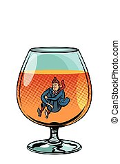drunkard in brandy glass. Comic cartoon pop art retro vector illustration drawing