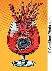 drunkard wine, man in a glass of alcohol. Comic cartoon pop art retro vector illustration drawing