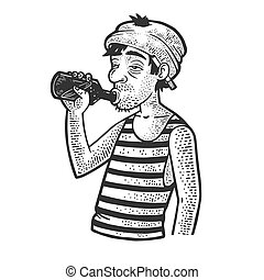 drunkard with a bottle sketch engraving vector illustration. T-shirt apparel print design. Scratch board imitation. Black and white hand drawn image.