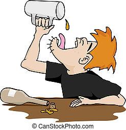 Drunkard\'s Empty Mug - A drunken man empties the last drop...