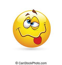 drunked, smiley, expressão, ícone