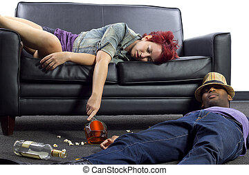 Drunken after party - drunken college friends after a wild...