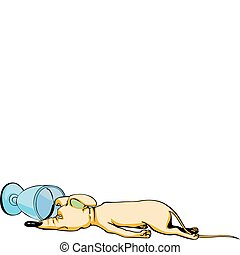 Drunken mouse cartoon - Cartoonial drunken mouse procumbent ...