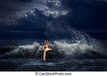 drunkning, man, hand, in, oväder, havsvatten