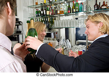 drunks drinking champagne