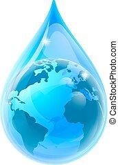 druppel, globe, druppel, water, aarde, wereld