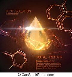 druppel, olie, essentie, collageen, serum, of