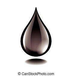 druppel, olie, vrijstaand, vector, black , witte