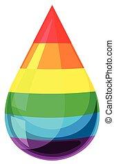 druppel, vloeistof, regenboog kleurt