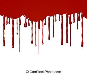 druppels, dons, bloed, vloeiend