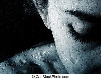 druppels, vrouw, regen