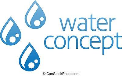 druppels, water, pictogram, concept, droplets