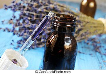 druppelteller, fles, met, bloem, essentie, en, lavendel, bloemen