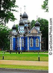 Druskininkai city blue orthodox church in Lithuania