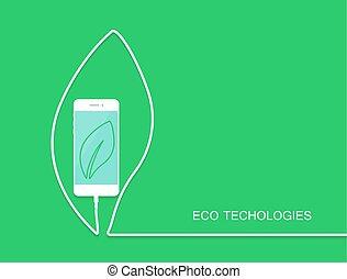 drut, chorągiew, karta, eco, odizolowany, telefon, tło., smartphone, zielony, szablon, koszt, niespodzianka, earphone., twój, design.