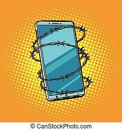 drut kolczasty, telephone., wolność, online, ce, pojęcie, internet