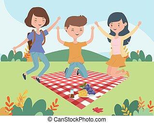 druvor, landskap, man, äng, picknick filt, kvinnor, ost