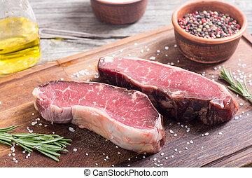 Dry aged New York steak wirh salt and pepper