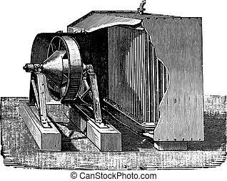 Dry air condenser, vintage engraving.