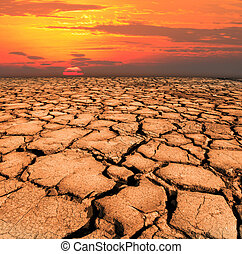 dry and cracked land from natural disaster scene