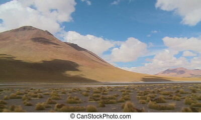 Dry Andean Mountain Ranges, Isluga River, Bolivia - Wide...
