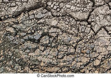 Dry Barren Cracked Soil Surface