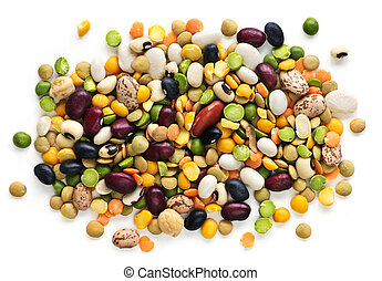Dry beans and peas - Mixture of dry beans and peas isolated ...