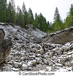 dry bed of a mountain torrent