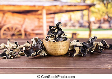 Dry black mushroom jew ear with cart - Lot of slices of dry...
