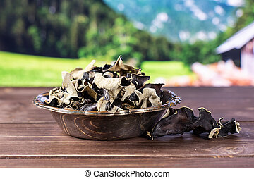 Dry black mushroom jew ear with country nature - Lot of...