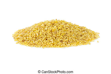 Dry bulgur wheat isolated on white