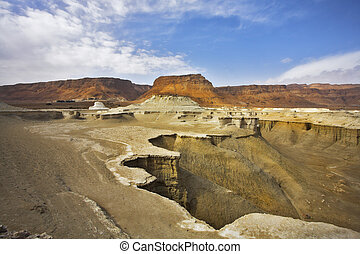 Dry canyon in mountains of the Dead Sea