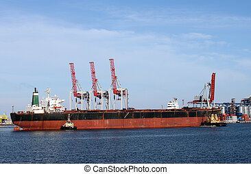 dry cargo ship in a seaport
