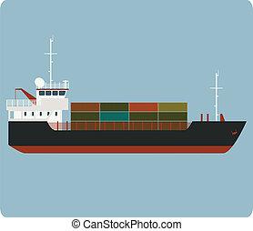 Dry cargo ship - Vector image of big dry cargo ship
