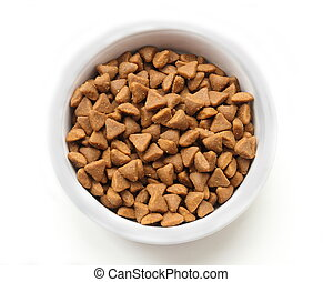 Dry cat food in a ceramic bowl