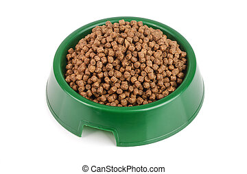 dry cat food in bowl isolated on white background