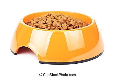 Dry Cat Food In Orange Bowl